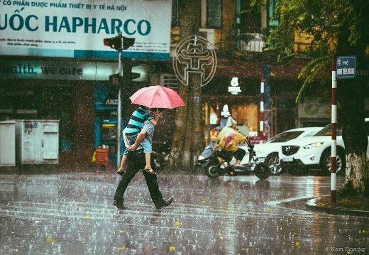 Những chiều mưa được bố cõng trên lưng là điều ấm áp và hạnh phúc đến vô cùng.