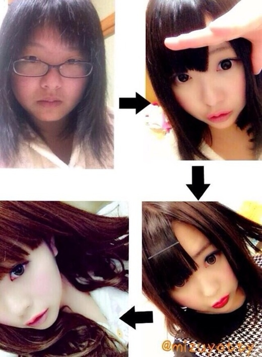 """Cô nữ sinh Nhật Bản đang trở thành tâm điểmchú ý với những hình ảnh """"vịt hoá thiên nga"""" chỉ trong vài bước trang điểm đơn giản. (Ảnh Internet)"""