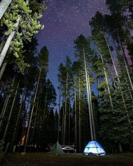 Cắm trại dưới bầu trời đầy sao huyền ảo ở Lake Louise, Canada.(Nguồn IG @micahkvidt)