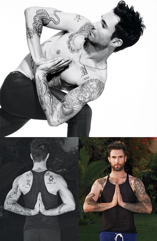 """Adam Levine yêu thích yoga đến nỗi anh có một người hướng dẫn riêng đi cùng trong suốt tour diễn thế giới của Maroon 5. Adam chia sẻ với trang Details: """"Yoga đã thay đổi hoàn toàn cơ thể tôi. Khibắt đầu luyện tập, tôi cảm nhận được hiệu quả của nó ngay lập tức . Yoga khiến bạn trở thành một người khác và làm cho bạn hài lòng với vẻ ngoài""""."""