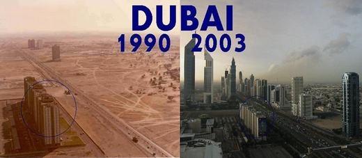 """Khung cảnh """"một trời một vực"""" của Dubai năm 1990 và 13 năm sau. (Ảnh: Internet)"""
