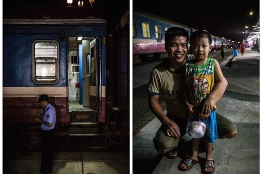 Hai cha con ở nhà ga Quảng Ngãi – miền Trung Việt Nam.(Nguồn: Matador Network)