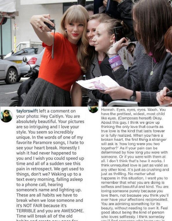 """Siêu sao âm nhạc hiện nay chắc hẳn phải thuộc hàng """"nữ hoàng"""" trong việc trò chuyện cùng fan trên mạng xã hội. Không chỉ trả lời những tin nhắn nhỏ, Taylor thậm chí còn đưa ra những lời khuyên cuộc sống cho các Swiftie (tên fanclub của Taylor). Việc fan của cô nàng nhận được những bức """"tâm thư"""" cực dài trên trang cá nhân đã không còn lạ lẫm nữa."""