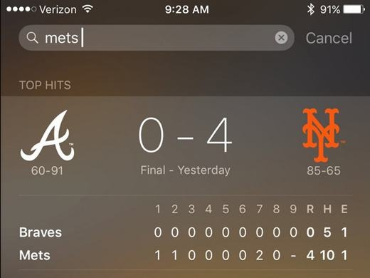 Bạn cũng có thể cập nhật tỷ số thể thao với Siri theo cách như vậy. Chỉ việc gọi tên đội bóng mà bạn muốn kiểm tra tỷ số mà thôi.