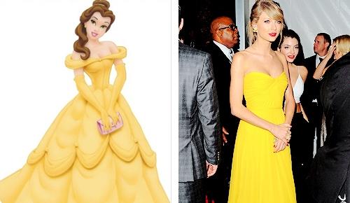 Giọng ca Bad Blood hoàn toàn có thể thay đổi từ nét đẹp quyến rũ sang nét đẹp quý phái của công chúa Belle chỉ bằng môt chiếc váy.