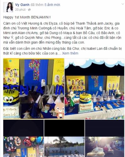 Những hình ảnh trong buổi tiệc đầy tháng con trai được Vy Oanh chia sẻ. - Tin sao Viet - Tin tuc sao Viet - Scandal sao Viet - Tin tuc cua Sao - Tin cua Sao