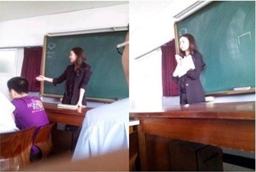 Thậm chí, nhiều cậu học trò còn lénchụp ảnh cô giáo trong giờ học.(Ảnh Internet)