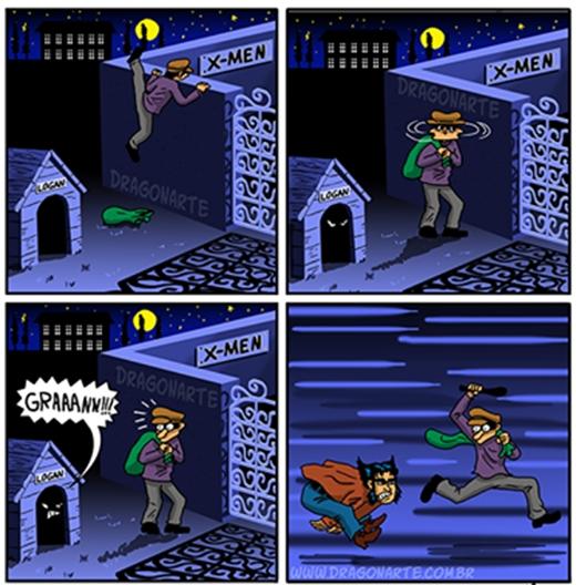 """Cảm giác của Superman khi xem truyện tranh về Batman.(Ảnh: Dragonate) Tưởng dễ qua mặt """"chó"""" X-men hả trộm? (Ảnh: Dragonate)"""