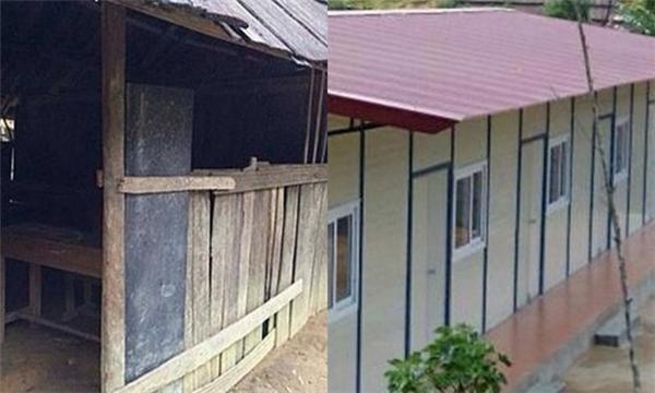 Hình ảnh ngôi trường cũ và nơi học tập khang trang mới xây dựng.