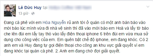 Ca sĩ Huy Ma tường thuật sự việc Hòa Minzy bị giật điện thoại. - Tin sao Viet - Tin tuc sao Viet - Scandal sao Viet - Tin tuc cua Sao - Tin cua Sao