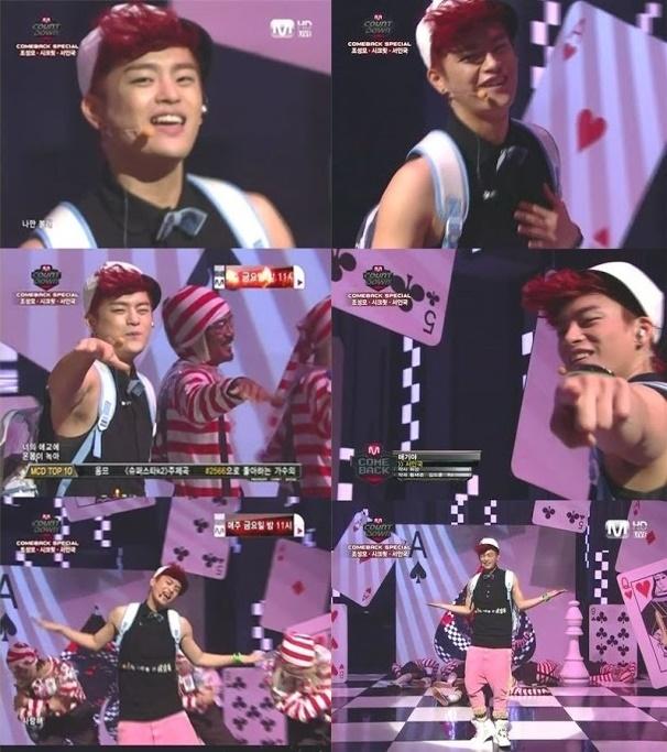 """Dù trình diễn ca khúc sôi động nhưng dường như trang phục """"quá teen"""" cùng phong cách hiphop """"nửa mùa"""" của Seo In Guk khiến khán giả không chấp nhận được."""