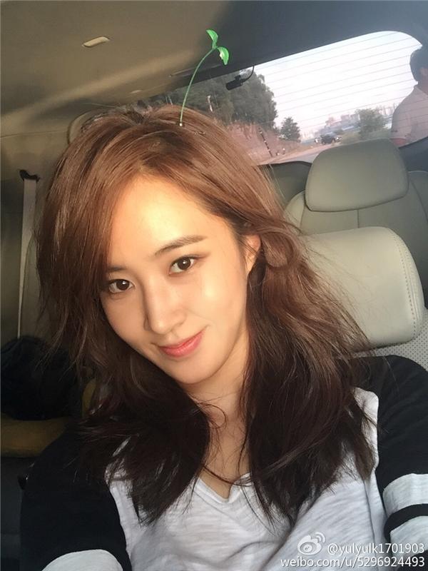 """Sau thời gian """"im hơi lặng tiếng"""", Yuri (SNSD) cũng cập nhật tài khoản Weibo cá nhân với bức ảnh """"tự sướng"""" cùng chiếc kẹpmầm xanh vô cùng đáng yêu."""