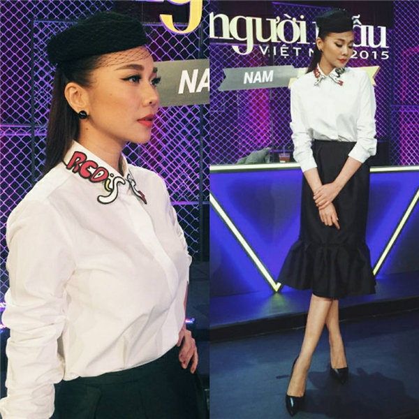 Thanh Hằng với bộ trang phục mang âm hưởng thời trang của những ngày xưa cũ trong phần đánh giá và loại của Vietnam's Next Top Model 2015.