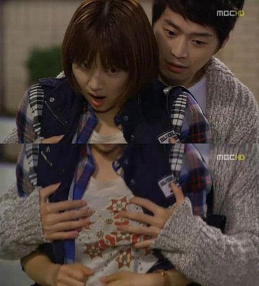 Nam diễn viên Kim Jae Won có cảnh quay nhạy cảm trong May Queen khi lỡ tay chạm ngực nữ chính Han Ji Hye.