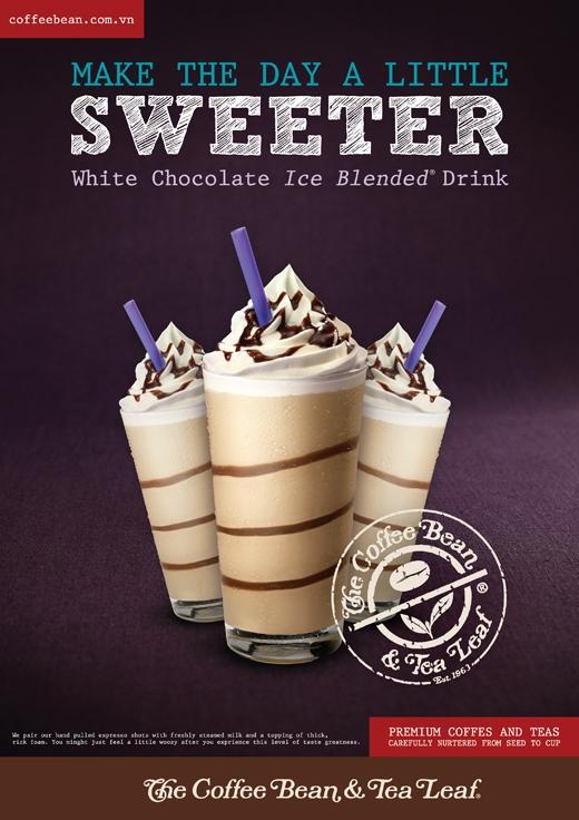 Với sự pha trộn độc đáo giữa bột và sốt sô-cô-la trắng hoà quyện với vị đậm đà truyền thống của latte sẽ mang lại một trải nghiệm mới cho món Ice blended đặc thù của The Coffee Bean & Tea Leaf.