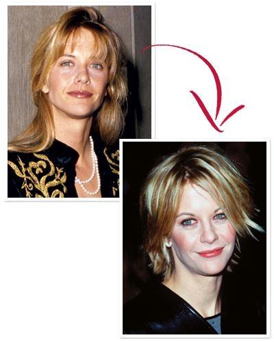Có vẻ như kiểu tóc ngắn vàrối đã làm cho Meg Ryan trông đáng yêu hơn. Thật khó để tưởng tượng hai bộ phim bom tấn cuối thập niên 90 - City of Angels và You've Got Mail thiếu đi hình ảnh của mái tóc huyền thoại này.