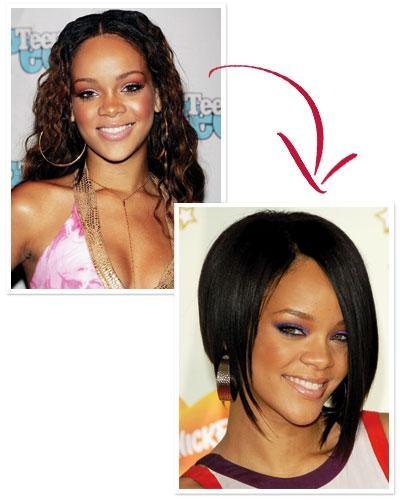Vào năm 2004, Rihanna đã tạm biệt mái tóc thắt quen thuộcđể chào đón khán giả trên toàn thế giới bằng kiểu tóc Asymmetrcal Bob trong ca khúc hit Umbrella. Tạibốn mùagiải Grammy tiếp theo, những quả đầu màu mè cũng đã giúp cô giữ được vẻ đẹp tươi mới của mình.