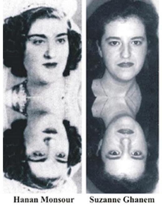 Chân dung Hanan Monsour và Suzanne Ghanem. Những người tin vào các đặc điểm về ký ức tiền kiếp ở trẻ em nhìn thấy nét tương đồng trên khuôn mặt giữa hai người phụ nữ. Ảnh: IISIS
