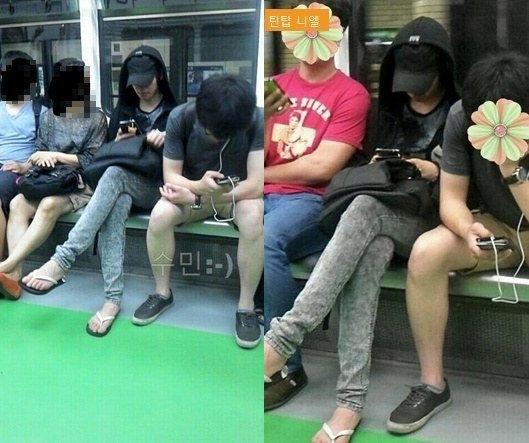 Không chỉ sử dụng phương tiện công cộng, Niel (Teen Top) còn diện dép tông, cải trang xuất sắc thành người bình thường.