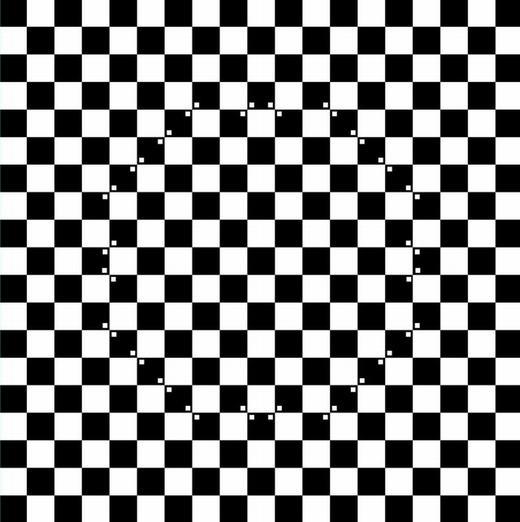 """Đây là những ô vuông đen trắng xen kẽ hay người ta còn gọi là ô bàn cờ. Nếu thêm các chấm trắng nhỏ vào các ô đen như phía trên, bạn sẽ thấy gì? Một vòng tròn nổi lên như hình ảnh 3D đúng không? Bạn nhầm rồi, nó vẫn chỉ là mặt phẳng thôi! Theo các nhà khoa học, đây gọi là hiện tượng """"nhiễu họa tiết"""", tức các chấm nhỏ đã làm """"nhiễu"""" khả năng phân tích ảnh của mắt, dẫn đến rối loạn tạm thời và ta thấy nó lồi lên vòng tròn. (Ảnh: Internet)"""