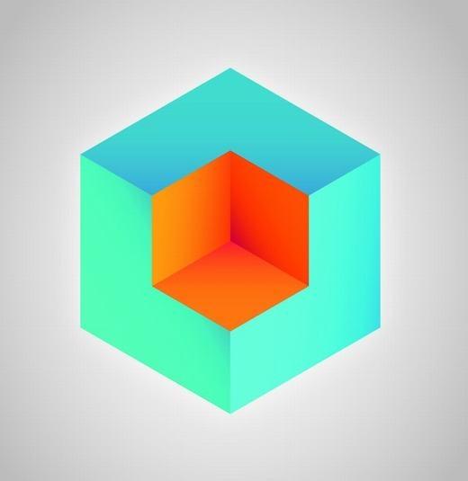 Khối vuông màu cam nằm trong khối màu xanh hay lơ lửng trên đó? Lại thêm một lần nữa màu sắc của bối cảnh quyết định đến vị trí sự vật mà chúng ta nhìn thấy. (Ảnh: Internet)