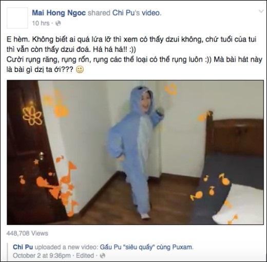 """Facebook Mai Hong Ngoc: """"E hèm. Không biết ai quá lứa lỡ thì xem có thấy dzui không, chứ tuổi của tui thì vẫn còn thấy dzui đoá. Há há há!! :))Cười rụng răng, rụng rốn, rụng các thể loại có thể rụng luôn :)) Mà bài hát này là bài gì dzị ta ới???""""."""