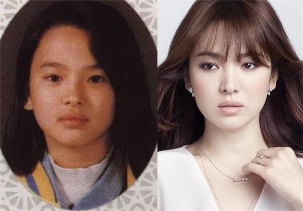 Trông Song Hye Kyo ngày xưa không có nhiều thay đổi so với hiện tại, thậm chí còn đáng yêu hơn với gương mặt tròntrịa, bầu bĩnh.
