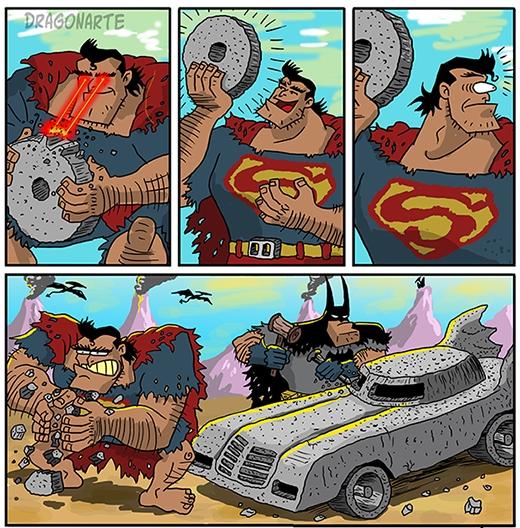 Người tiền sử phiên bản siêu nhân:Superman vừa chế tác xong cái bánh xe thì cũng là lúc Batman... hoàn thành cảchiếc xe.