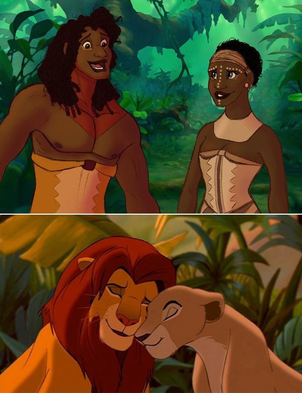 Simba và Nala trong bộ phim Vua Sư Tử.