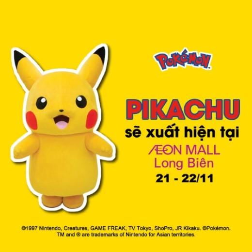 Những chú Pikachu khổng lồ sẽ xuất hiện tại Hà Nội trong 2 ngày 21/11 và 22/11.