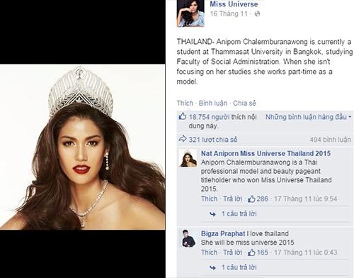 Hoa hậu Thái Lan đứng vị trí thứ 2 khi nhận được hơn 18.000 thíchvà gần 500 bình luận. - Tin sao Viet - Tin tuc sao Viet - Scandal sao Viet - Tin tuc cua Sao - Tin cua Sao
