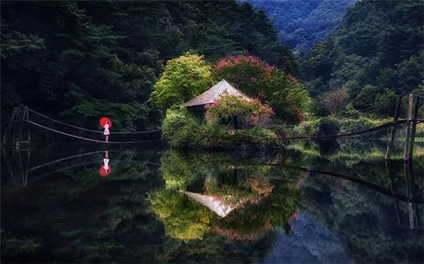 Mặt nước phẳng gần như tuyệt đối phản chiếu toàn bộ cảnh quan khiến cho bức ảnh trở nên hoàn hảo.