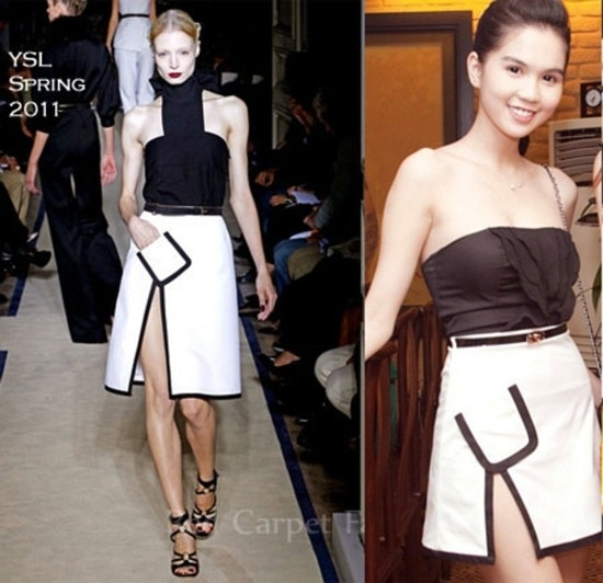 Chân váy trắng viền đen của YSL cũng được Ngọc Trinh cắt ngắnhơn cho phù hợp với chiều cao của mình.