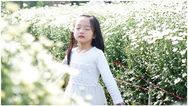 Giữa vườn hoa trắng, bé Bảo Anh không khác gì một thiên thần nhỏ đang dạo chơi.(Ảnh: Facebook)