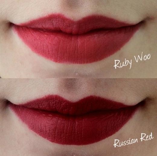 Haimàu son đỏ Ruby Woo và Russian Red của hãng mĩphẩm MAC. (Ảnh Internet)