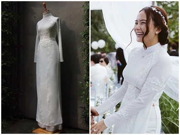 Chiếc áo dài của Phan Như Thảo lại khiến người đối diện mê tít bởi hoa văn dập nổi, in chìm hiện đại, tinh tế cùng ren lưới đính kết.