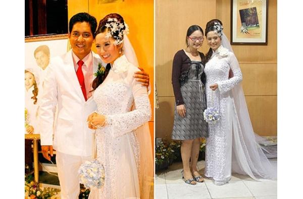 Nữ diễn viên Thanh Thúy với vẻ ngoài khá cầu kì khi diện áo dài trắng trong hôn lễ.