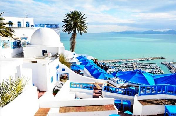 Nằm gần Tunis, Tunisia, thành phố Sidi Bou Saidvắt vẻo trên sườn núi trông ra biển Địa Trung Hải.(Ảnh: Internet)