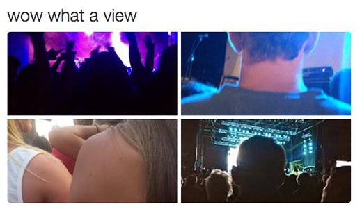 """Chương trình ca nhạc nào mà không có ghế ngồi thì xác định là bạn sẽ có""""tầm nhìn thật 'chất lượng'"""".(Ảnh: Twitter: @shortgirlprblem)"""