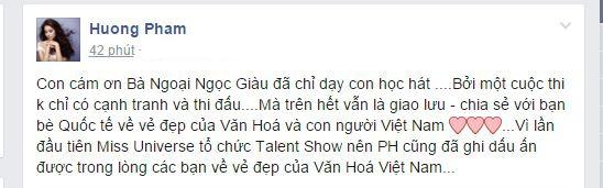 Phạm Hương cũng không quên gửi lời cảm ơn đến nghệ sĩNgọc Giàu - người đã trực tiếp chỉ dạy cho cô trong suốt thời gian qua. - Tin sao Viet - Tin tuc sao Viet - Scandal sao Viet - Tin tuc cua Sao - Tin cua Sao