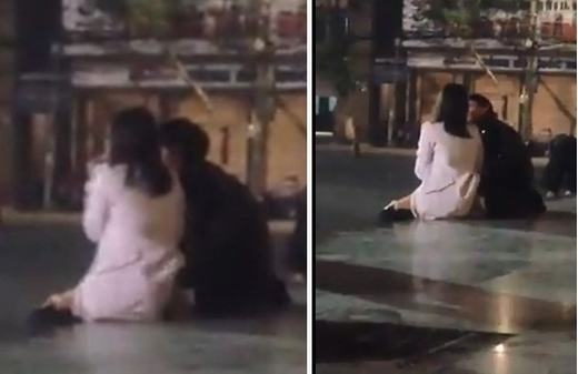 Thanh niên sờ soạng bạn gái ngay chốn công cộng gây phản cảm.