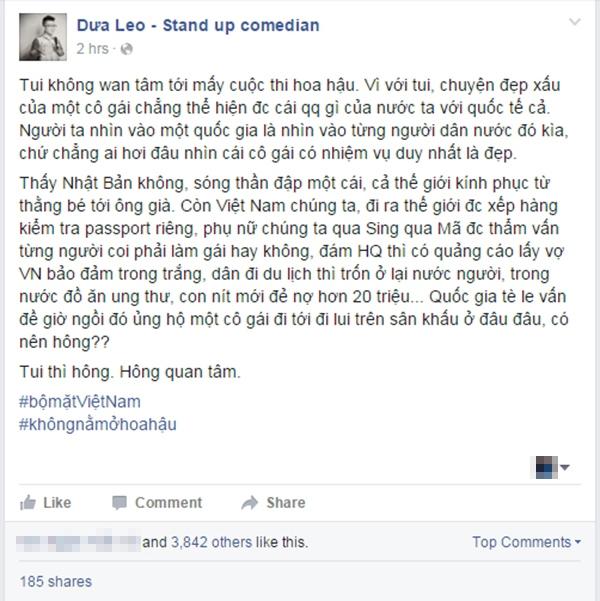Nguyên văn câu trạng thái của Dưa Leo. (Ảnh: Internet)