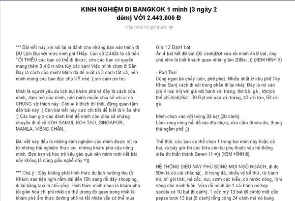 Bài chia sẻ của chàng trai 9X Hà thành. (Ảnh: Internet)