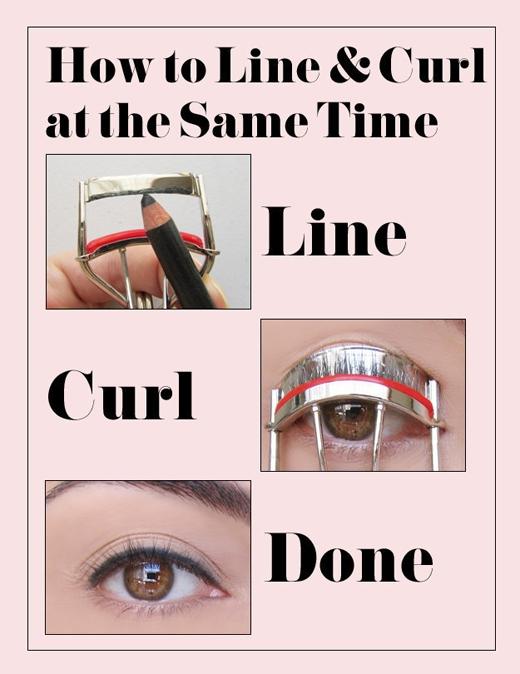 Để tiết kiệm thời gian, dùng chì kẻ vào dụng cụ kẹp mi, cách này sẽ giúp đường kẻ được như ý muốn.(Ảnh: Internet)