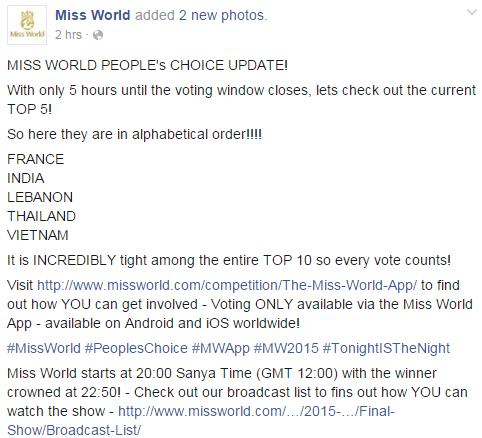 Trang Twitter và Facebook đã chính thức công bố top 5 thí sinh được bình chọn nhiều nhất. - Tin sao Viet - Tin tuc sao Viet - Scandal sao Viet - Tin tuc cua Sao - Tin cua Sao