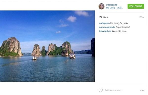 Cô cũng thích thú với những kỳ quan thiên nhiên hùng vĩ của Vịnh Hạ Long.