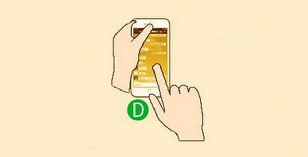 Dùng một tay đỡ điện thoại và điều khiển bằng ngón trỏ của tay kia. (Ảnh: Internet)