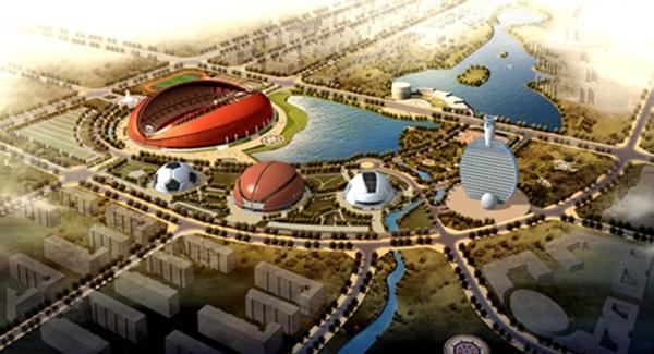 """Các sân vận động được """"sáng tạo"""" theo hình thù dụng cụ thể thao. (Ảnh: Internet)"""