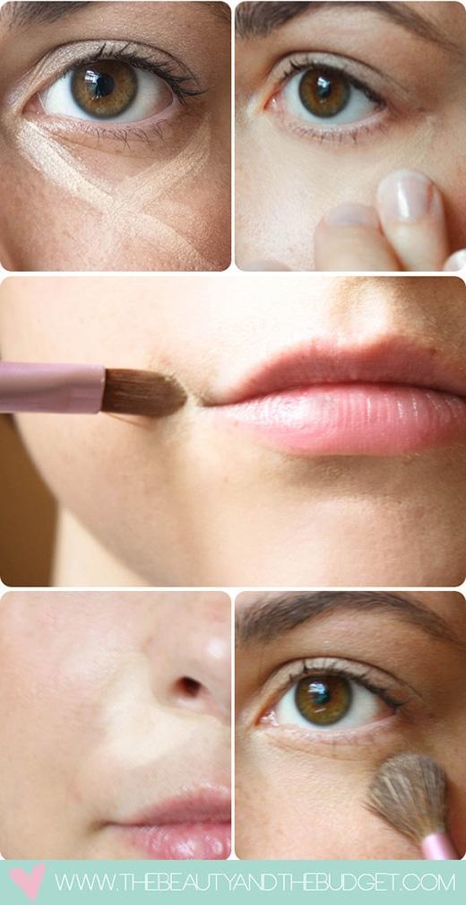 Nếu tỉ mỉ hơn, hãy thoa mĩphẩm che khuyết điểmvào dưới mắt, khóe miệng,khóe mũi, nó sẽ giúp che đi cácvết thâm và đỏ ở những phần danày. (Ảnh: Internet)