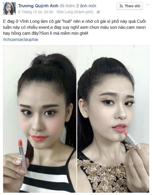 """TrươngQuỳnh Anh hỏi fan xem cô nàng diện màu son lì nào đẹp hơn. Cô còn thân thiện """"bật mí"""" với fan đây là dòng son lì của Lip On Lip."""